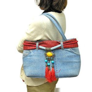 デニムのハンドバッグ ショルダーバッグ B-E 布製  アジアン雑貨 バリ雑貨 タイ雑貨 エスニック angkasa