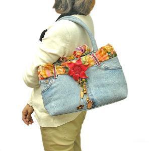 デニムのハンドバッグ ショルダーバッグ B-K 布製  アジアン雑貨 バリ雑貨 タイ雑貨 エスニック angkasa
