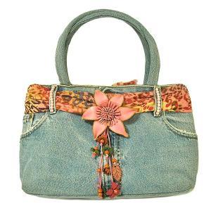 デニムのハンドバッグ ショルダーバッグ C 布製  アジアン雑貨 バリ雑貨 タイ雑貨 エスニック angkasa