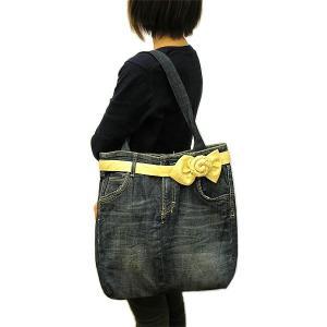 デニムのショルダーバッグ トートバッグ タイリボン 布製  アジアン雑貨 バリ雑貨 タイ雑貨 エスニック angkasa