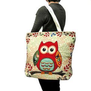 布製 トートバッグ エコバッグ ショルダーバッグ 赤ふくろう アジアン雑貨 バリ雑貨 タイ エスニック おしゃれなトートバッグ|angkasa
