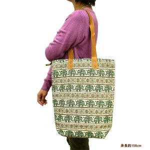布製 トートバッグ エコバッグ ショルダーバッグ グリーン 象さん エスニック かわいい おしゃれなトートバッグ アジアン雑貨 バリ雑貨 タイ|angkasa