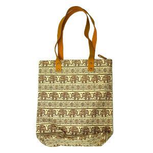 布製 トートバッグ エコバッグ ショルダーバッグ 茶 象さん エスニック かわいい おしゃれなトートバッグ アジアン雑貨 バリ雑貨 タイ|angkasa