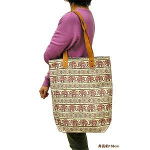 布製 トートバッグ エコバッグ ショルダーバッグ 赤 象さん エスニック かわいい おしゃれなトートバッグ アジアン雑貨 バリ雑貨 タイ|angkasa