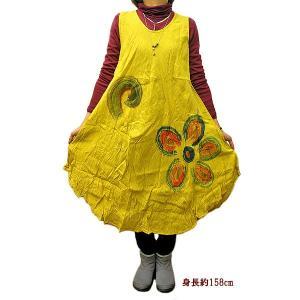 レディース 花柄プリント ワンピース ノースリーブ イエロー Mサイズ[着丈110〜115cm] アジアンファッション アジアン雑貨 バリ雑貨 タイ雑貨 |angkasa