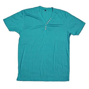 レディース ボタン付きTシャツ 半袖 Lサイズ ターコイズ [着丈70〜75cm] アジアンファッション アジアン雑貨 バリ雑貨 タイ雑貨 |angkasa