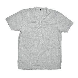 レディース ボタン付きTシャツ 半袖 Lサイズ グレー [着丈70〜75cm] アジアンファッション アジアン雑貨 バリ雑貨 タイ雑貨 |angkasa