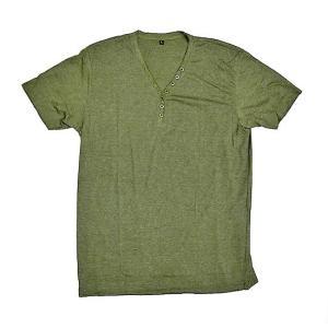 レディース ボタン付きTシャツ 半袖 Lサイズ カーキ [着丈70〜75cm] アジアンファッション アジアン雑貨 バリ雑貨 タイ雑貨 |angkasa
