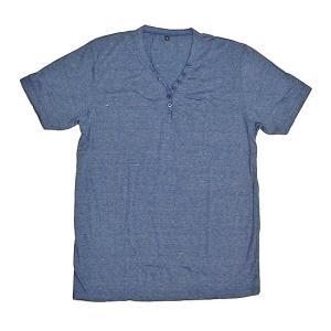 レディース ボタン付きTシャツ 半袖 Lサイズ ブルー [着丈70〜75cm] アジアンファッション アジアン雑貨 バリ雑貨 タイ雑貨 |angkasa