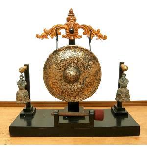 アジアン雑貨 バリ雑貨 タイ雑貨 アジアの楽器 ゴング 銅鑼と金剛鈴 のセット [どら直径26cm] angkasa