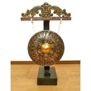 アジアン雑貨 バリ雑貨 タイ雑貨 アジアの楽器 ゴング 銅鑼 台付き [どら直径24cm] angkasa
