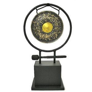 アジアン雑貨 バリ雑貨 タイ雑貨 アジアの楽器 ゴング 銅鑼 台付き [どら直径19cm] angkasa