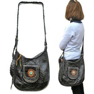 レザーのショルダーバッグ ダークブラウン 牛革 レディース ハンドメイド 革製品 アジアン雑貨 バリ雑貨 タイ雑貨 エスニック おしゃれなバッグ|angkasa