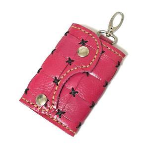 アジアン雑貨 タイ雑貨 ハンドメイド レザーのキーケース ピンク|angkasa