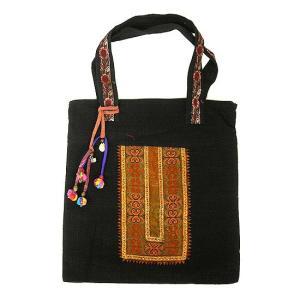 布製 モン族 布製トートバッグ ショルダーバッグ 黒 アクセサリー付き アジアン雑貨 バリ雑貨 タイ雑貨 エスニック|angkasa