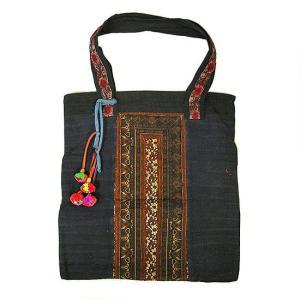 モン族 布製トートバッグ ショルダーバッグ 濃紺 アクセサリー付き アジアン雑貨 バリ雑貨 タイ雑貨 エスニック|angkasa