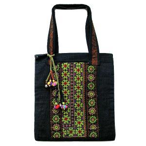 アジアン雑貨 タイ雑貨 布製 モン族 布製トートバッグ ショルダーバッグ 黒 アクセサリー付き|angkasa