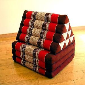 タイの三角枕 3段マット付 エスニック柄 レッドxえんじ アジアン雑貨 タイ雑貨 バリ雑貨 エスニック おしゃれな三角枕|angkasa