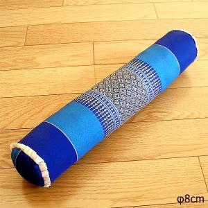 タイの枕 クッション枕 ごろ寝枕 [直径約8cm×50cm] ブルー系 抱き枕 エスニック柄 ヨガ枕 ストレッチ アジアン雑貨 バリ エスニック おしゃれな 枕|angkasa