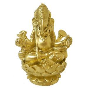 ガネーシャの置物 卓上インテリア ゴールド [H.約11cm] アジアン雑貨 バリ雑貨 |angkasa