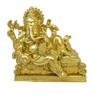 ガネーシャの置物 卓上インテリア ゴールド [H.約10cm] アジアン雑貨 バリ雑貨 |angkasa