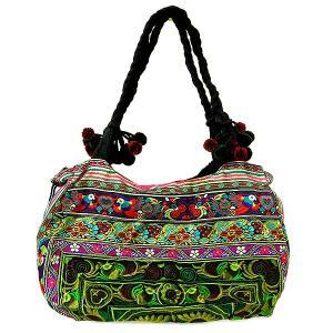 アジアン雑貨 タイ雑貨 布製 モン族 ショルダーバッグ グリーン系 刺繍|angkasa