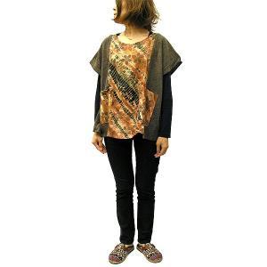レディーストップス エスニックシャツ カットソー 茶系タイダイ [着丈約60cm]  おしゃれな チュニック ワンピース アジアンファッション アジアン雑貨 タイ|angkasa