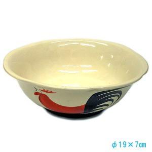 にわとり柄の どんぶり ボウル 縁波 大 [直径21cm] おしゃれな アジアン食器 装飾品 アジアン雑貨 バリ雑貨 ローカルな食器 装飾用|angkasa
