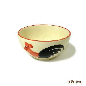 にわとり柄のお茶碗 小鉢 サラダボウル [直径10cmx5cm] おしゃれな アジアン食器 装飾品 アジアン雑貨 バリ雑貨 ローカルな食器 装飾用|angkasa