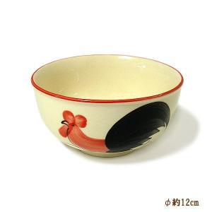 にわとり柄のお茶碗 中鉢 サラダボウル [直径12cmx6cm] おしゃれな アジアン食器 装飾品 アジアン雑貨 バリ雑貨 ローカルな食器 装飾用|angkasa