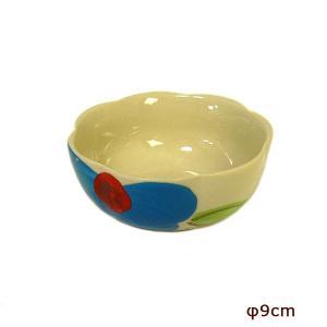 花柄 縁波 小皿 青い花 お通し 小鉢 調味料皿 [直径9cmx3.5cm] おしゃれな アジアン食器 装飾品 アジアン雑貨 バリ雑貨 ローカルな食器 装飾用 おしゃれな小皿|angkasa