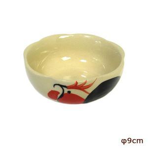 にわとり柄 縁波 小皿 ピンクの花 お通し 小鉢 調味料皿 [直径9cmx3.5cm] おしゃれな アジアン食器 アジアン雑貨 バリ雑貨 ローカルな食器 おしゃれな小皿|angkasa