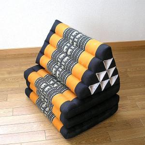 タイ 三角枕 3段 マット 象さん刺繍 薄 オレンジ 黒 アジアン タイ バリ雑貨 エスニック おしゃれな 寝具 ソファー|angkasa