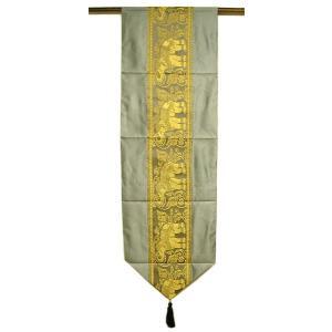 テーブルランナー 象さん グレー ベッドライナーベッドスロー [192cm] アジアン雑貨 バリ雑貨 タイ モダン おしゃれなタペストリー angkasa