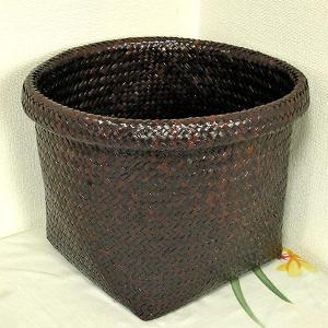 カチュー水草の編み込みカゴ 収納 ゴミ箱 ブラウン Lサイズ[直径約26-8cm] アジアン雑貨|angkasa