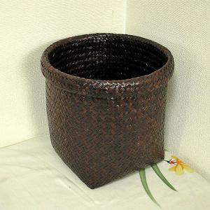 カチュー水草の編み込みカゴ 収納 ゴミ箱 ブラウン Mサイズ[直径約23-4cm] アジアン雑貨|angkasa