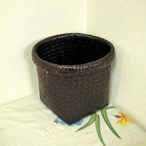 カチュー水草の編み込みカゴ 収納 ゴミ箱 ブラウン Sサイズ[直径約20cm] アジアン雑貨|angkasa