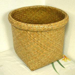 カチュー水草の編み込みカゴ 収納 ゴミ箱 ナチュラル Lサイズ[直径約26-8cm] アジアン雑貨|angkasa