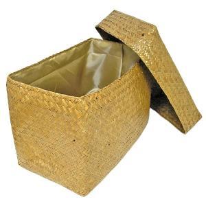 カチュー水草の蓋付きボックス 収納箱 長方形 ナチュラル Lサイズ [横幅約40cm] アジアン雑貨 タイ雑貨 おしゃれな 収納 angkasa