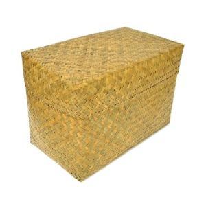 カチュー水草の蓋付きボックス 収納箱 長方形 ナチュラル Mサイズ [横幅約35cm] アジアン雑貨 タイ雑貨 おしゃれな 収納 angkasa