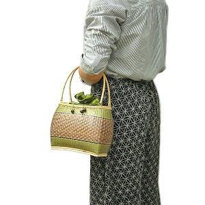 ★現品限り★夏の浴衣にぴったり♪ ラタンのカゴバッグ J グリーン 持ち手ラタン アジアン雑貨 バリ雑貨 タイ雑貨 エスニック|angkasa