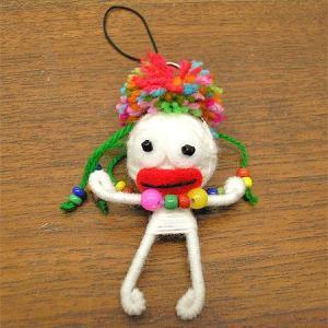 アジアン雑貨 タイ雑貨 ブードゥー人形ストラップ 白 Mサイズ [H.6cm] メール便対応 angkasa