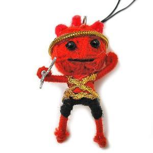 アジアン雑貨 タイ雑貨 ブードゥー人形ストラップ ヒーロー Mサイズ 赤 [H.6cm] メール便対応 angkasa