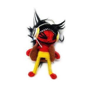 アジアン雑貨 タイ雑貨 ブードゥー人形ストラップ F DJ Mサイズ 赤  [H.6cm] メール便対応|angkasa