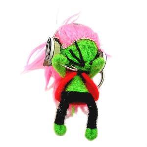 アジアン雑貨 タイ雑貨 ブードゥー人形ストラップ DJ Mサイズ 黄緑 [H.6cm] メール便対応|angkasa
