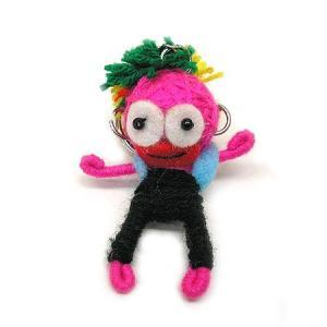 アジアン雑貨 タイ雑貨 ブードゥー人形ストラップ ダンサー 濃ピンク [H.6cm] メール便対応|angkasa