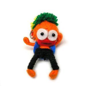 アジアン雑貨 タイ雑貨 ブードゥー人形ストラップ ダンサー オレンジ [H.6cm] メール便対応|angkasa