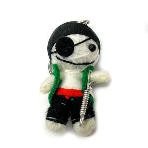 アジアン雑貨 タイ雑貨 ブードゥー人形ストラップ 海賊 白 [H.6cm] メール便対応 angkasa