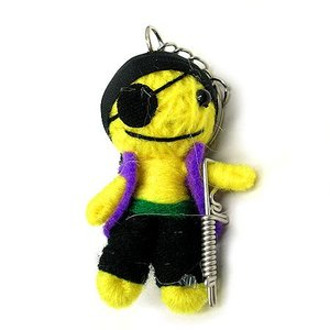 アジアン雑貨 タイ雑貨 ブードゥー人形ストラップ 海賊 黄色 [H.6cm] メール便対応 angkasa