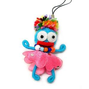 ブードゥー人形ストラップ 女の子 水色 H.6cm アジアン雑貨 バリ雑貨 angkasa